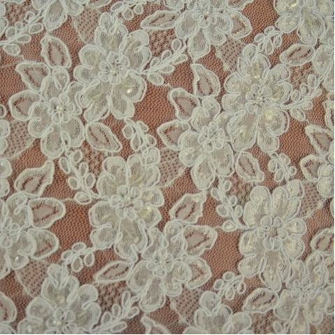 Off-white Floral Pattern Bridal Lace Fabric