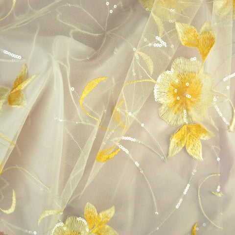 Yellow Flower Pattern with White Sequins Lace Fabric