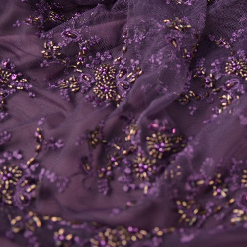 Purple and Gold Bead Embroidery Purple Lace Fabric