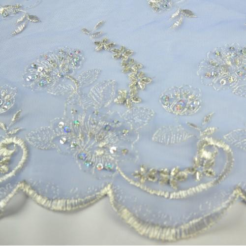 Flower Stitching and Beading Lace Fabric