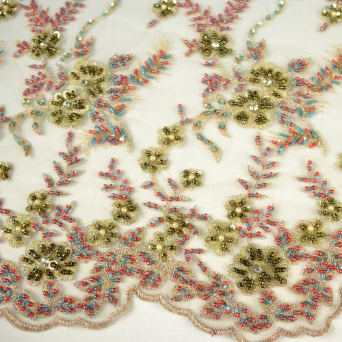 Beaded Floral Pattern, Four Colors Lace Fabric