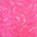 Arrow Shape Squiggly Line Pattern Silk Shantung Embroidery
