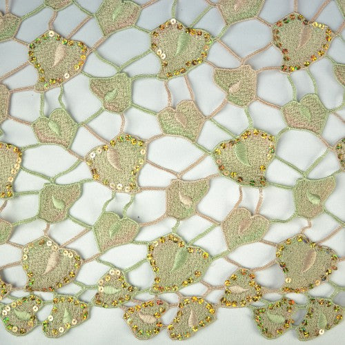 Mosaic Leaf Pattern with Sequins Lace Fabric