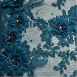 Royal Blue Floral Pattern with Small Blue Gems Lace Fabric