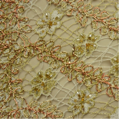 Thin Floral Lined Pattern Lace Fabric