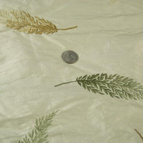 Intricate Leaf Pattern Silk Shantung Embroidery