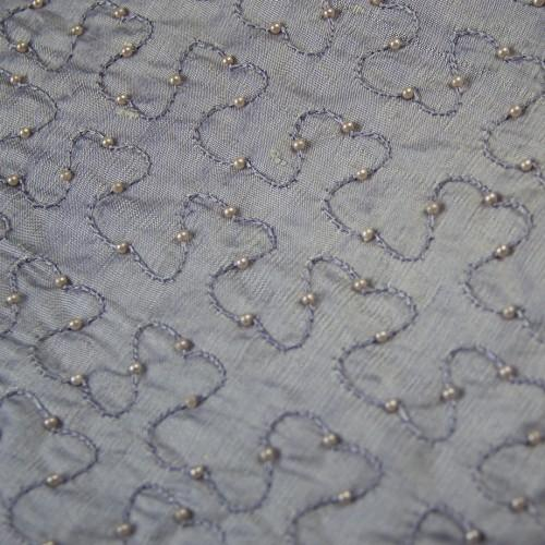 Squiggly Lines with Beads Silk Shantung Hand-beaded