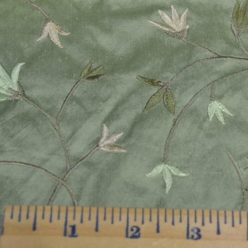 Simple Flower Pattern Silk Shantung Embroidery