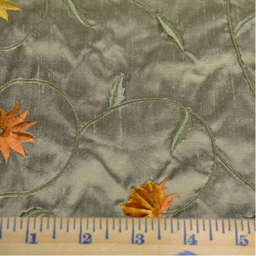 Simple Flowers with Leaves Silk Shantung Embroidery