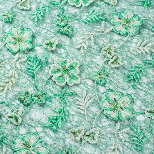 Floral Design with Beads French Guipure Lace Fabric