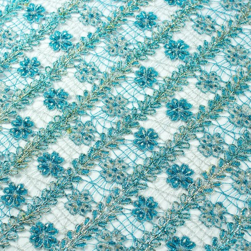 Striped Floral Pattern with Beads French Lace Fabric