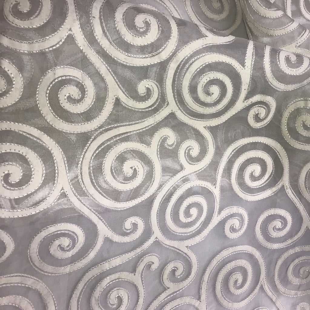 Swirl Design Silk Organza Embroidery