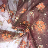 Deep Orange and Gold Floral Pattern on Silk Organza Embroidery