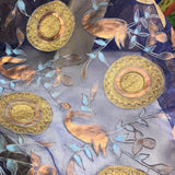 Hand Painted Circle Floral Pattern Silk Organza Embroidery