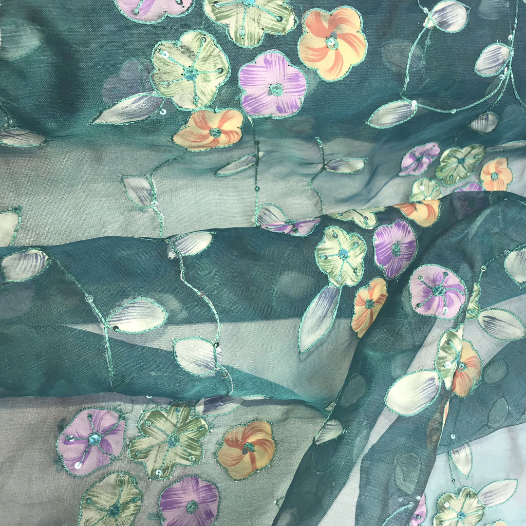Multi-color Floral Pattern Silk Organza Embroidery