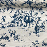 Navy Blue Farm Animal French Print on White Silk Shantung
