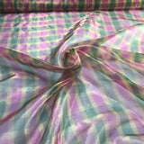 Metallic Check Pink and Green Pattern Silk Organza