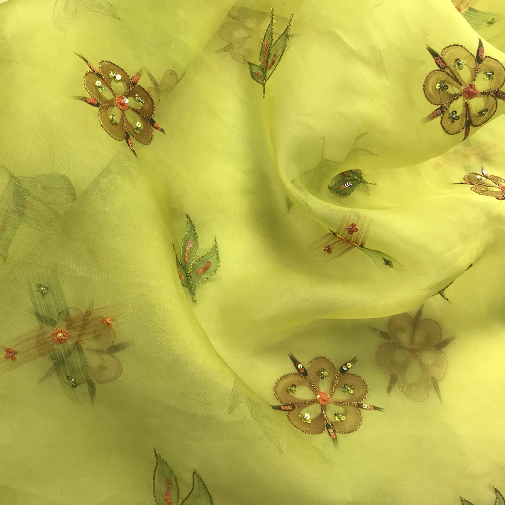 Flowers with Sequin Accents on Lime Green Silk Organza Embroidery
