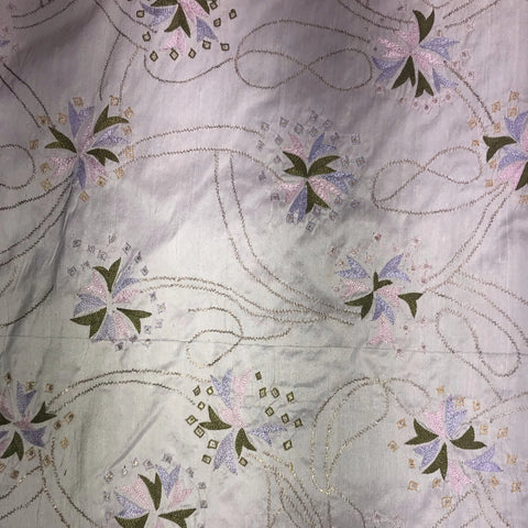 Light Pink, Light Blue, and Green Abstract Flowers and Loops Silk Shantung with Handwork Embroidery