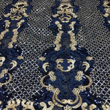 French Lace and Gold Sequins Criss Cross Flower Design