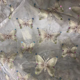 Butterfly Sequin Pattern Silk Organza Embroidery