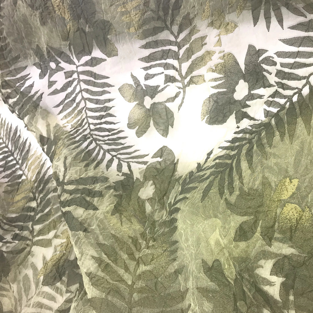 Tinted Big Leaves and Flowers Polyester Organza Jacquard