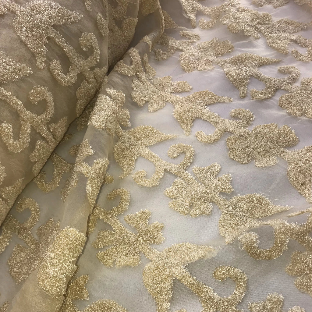 Chenille Floral Pattern Silk Organza Embroidery