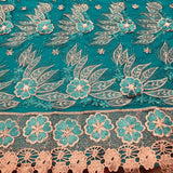 Lace Design with Flower and Feather Embroidery and Pearls