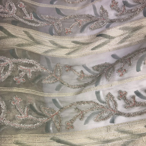Chenille Striped Pattern Silk Organza Embroidery