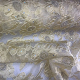 Thick Gold Floral Pattern Silk Organza Embroidery