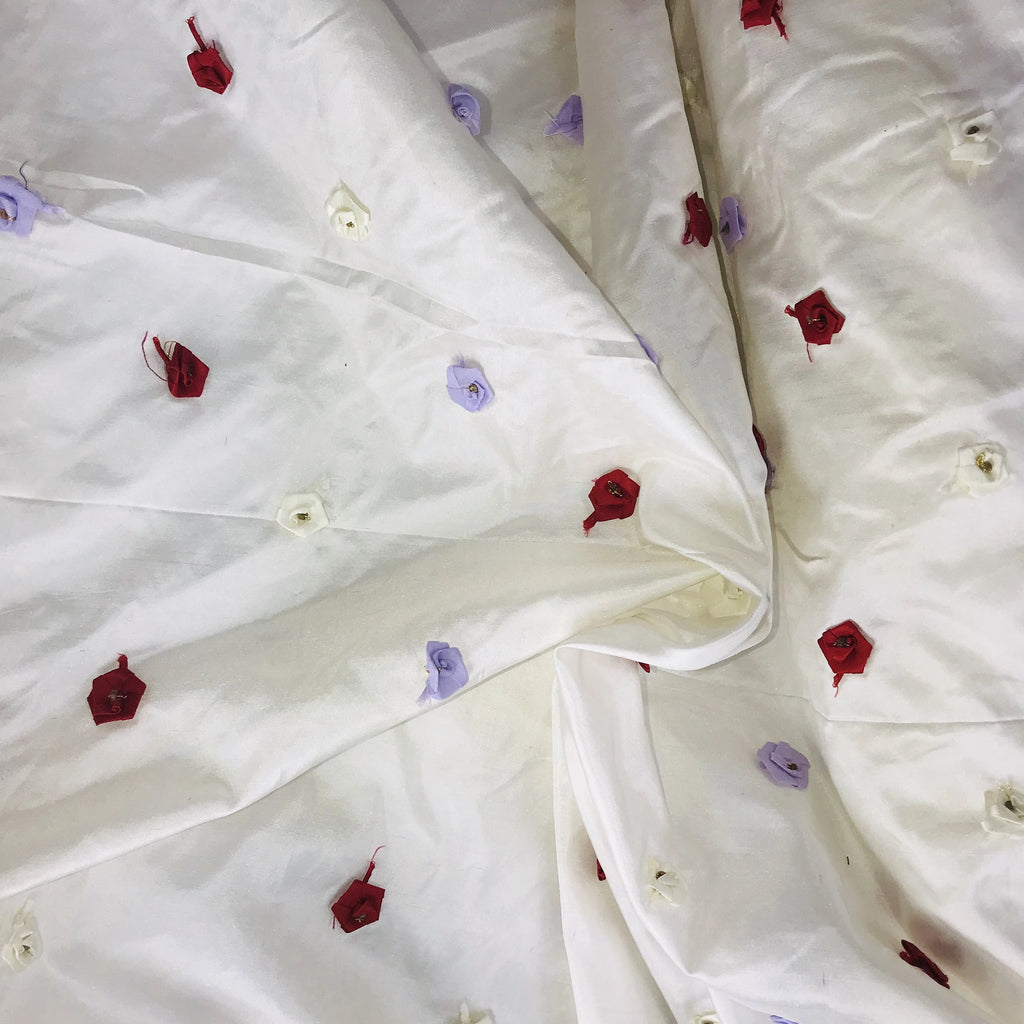 3D Roses on Red Silk Taffeta