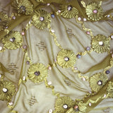 Floral Pattern with Seashells Silk Chiffon Embroidery