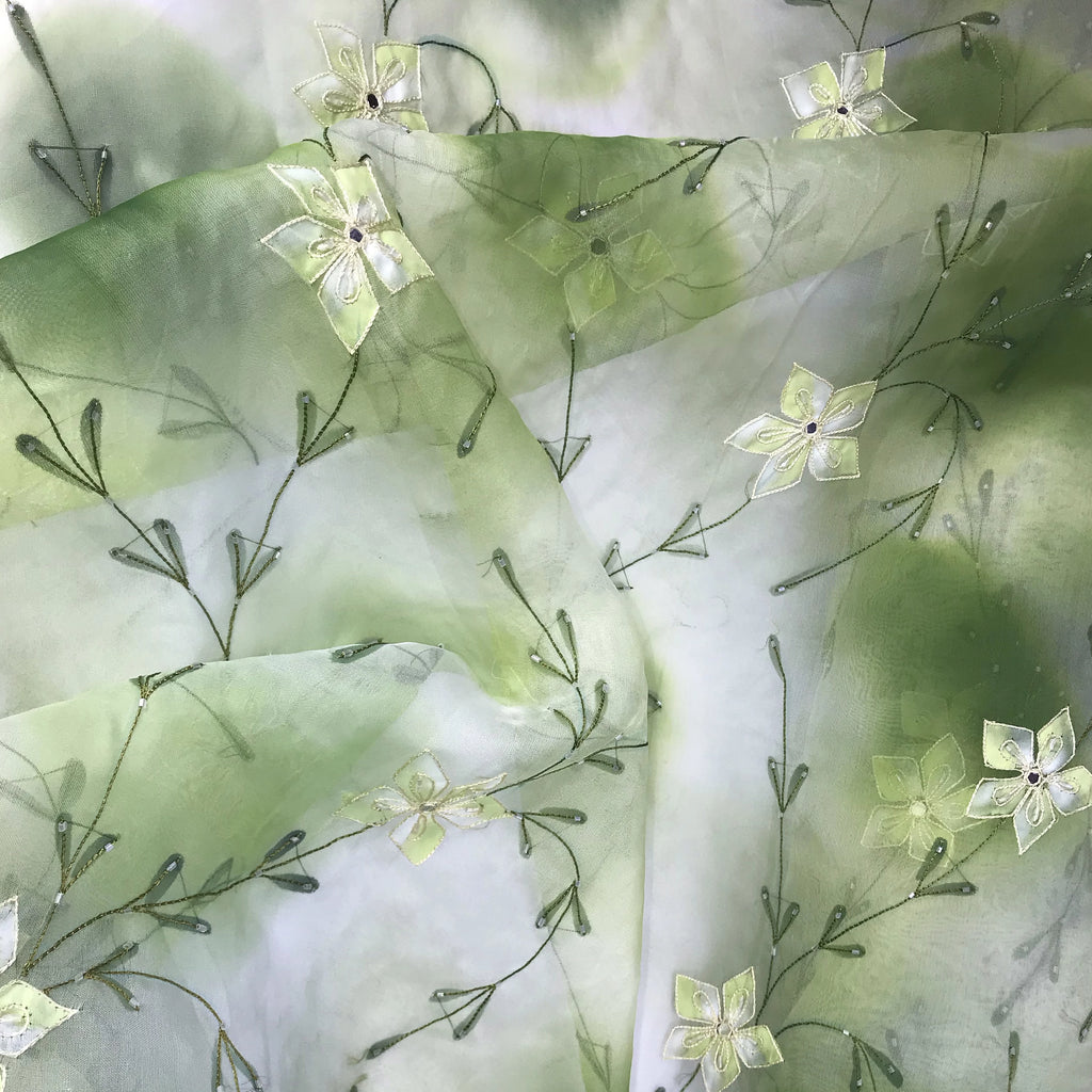 Green and White Tie Dye Floral Design Silk Organza Embroidery