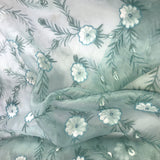 Hand Painted Floral Pattern Silk Organza Embroidery