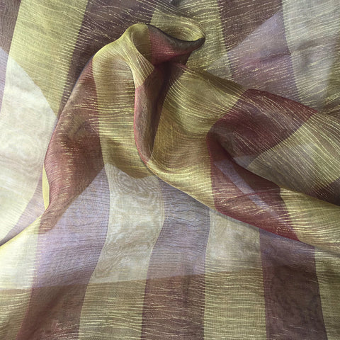 Burgundy and Gold Stripes with Gold Thread Silk Organza