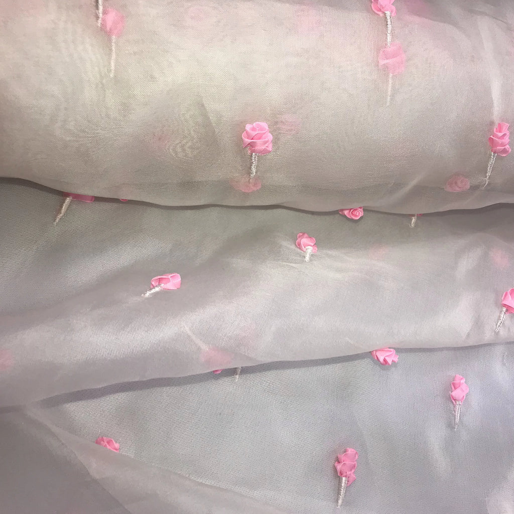 3D Rose Pattern Silk Organza Embroidery