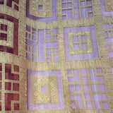 Gold Squares and Crosses (Geometric) Pattern Silk Organza Jacquard