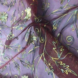 Multi-colored Floral and Leaf Design Silk Organza Embroidery