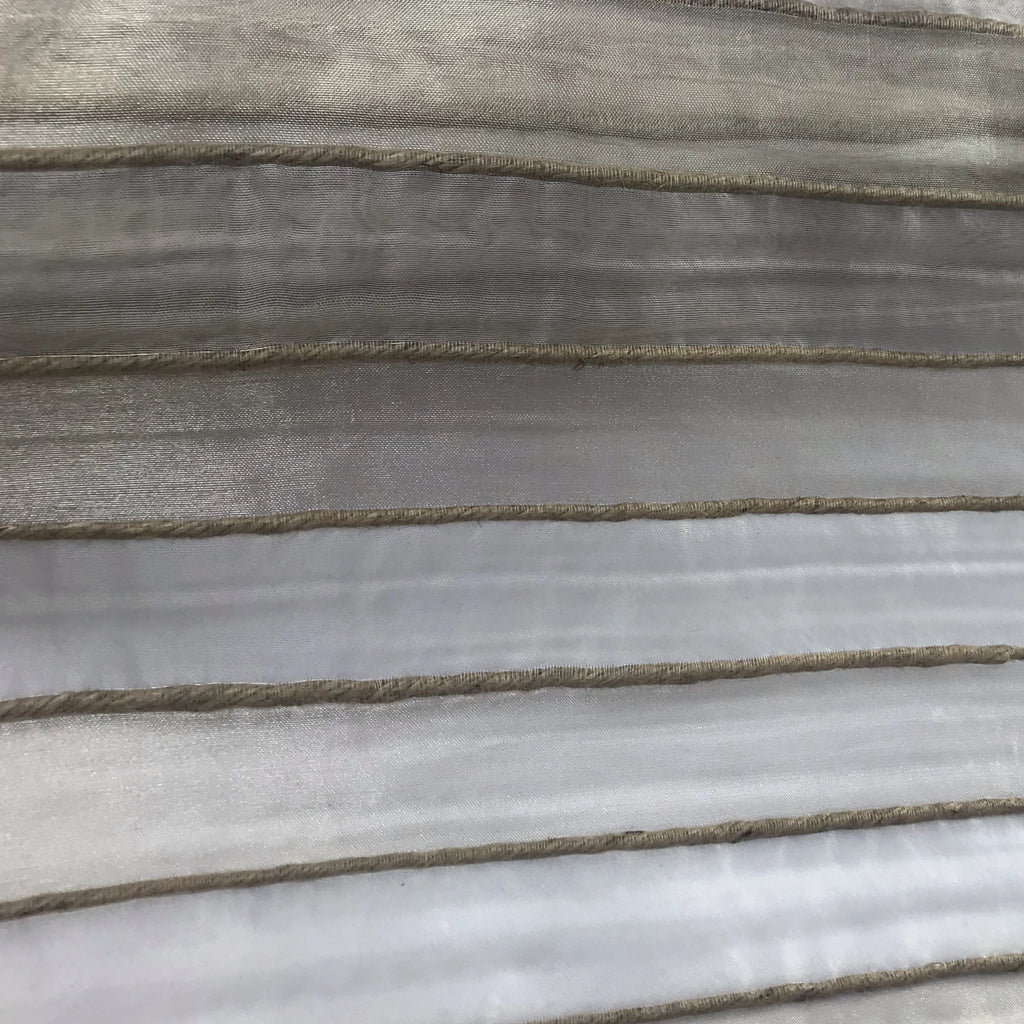Jude Stripe Pattern Metallic Silk Organza Embroidery