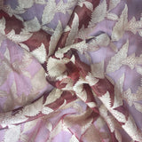 Gold Leaf Jacquard Design on Burgundy Silk Organza Embroidery