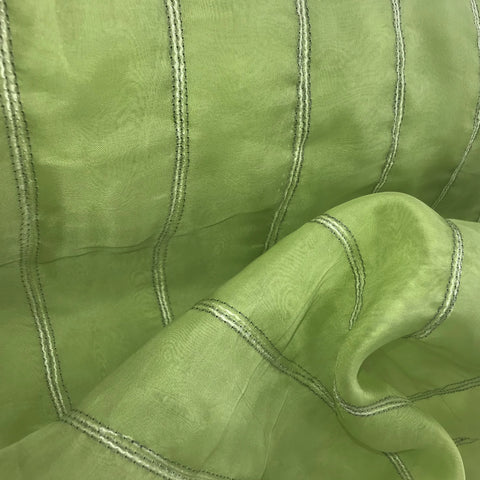 Lime Green Stripe Silk Organza Embroidery