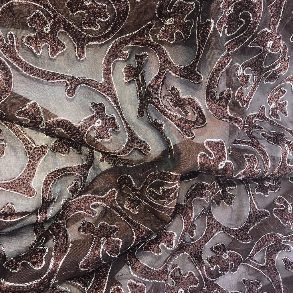 Silver Abstract Floral Pattern Silk Organza Embroidery