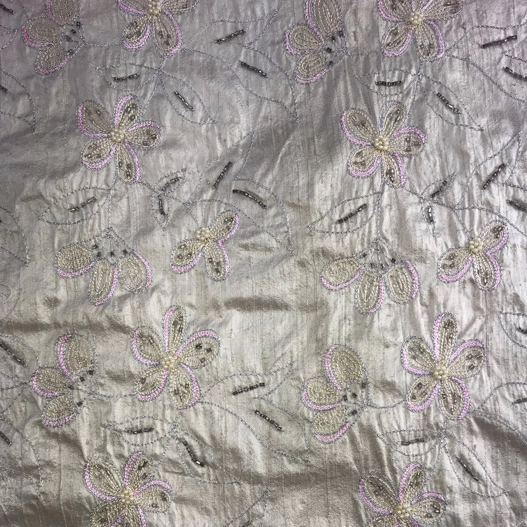 Pink Outlined Flowers Silk Shantung Embroidery