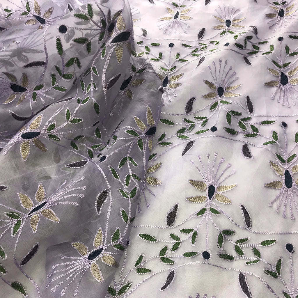 Multi-colored Floral Pattern Silk Organza Embroidery