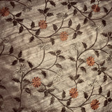 Old Gold Floral Pattern Linen Embroidery