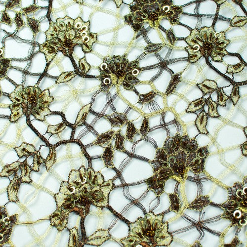 Floral Mosaic Pattern with Sequins French Lace Fabric