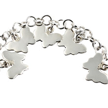 Load image into Gallery viewer, Polished Silver Butterfly Charm Bracelet