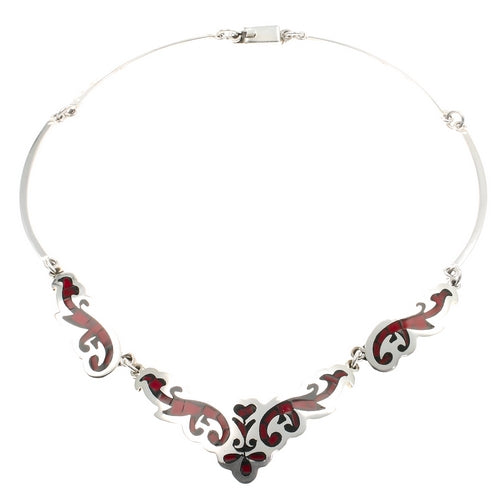 Red Jasper Silver Necklace