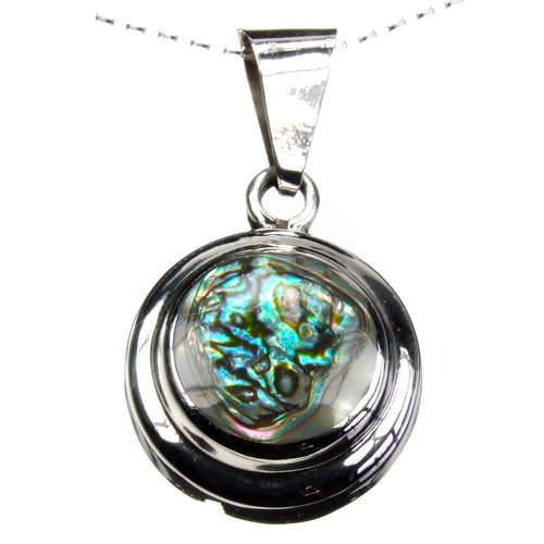 Large Abalone Paua Shell Iridescence Stone Sterling Silver Disc Pendant Necklace with 18 inch Sterling Silver Chain