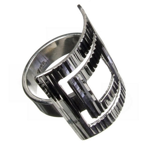 Square Hole Diamond Cut Silver Ring